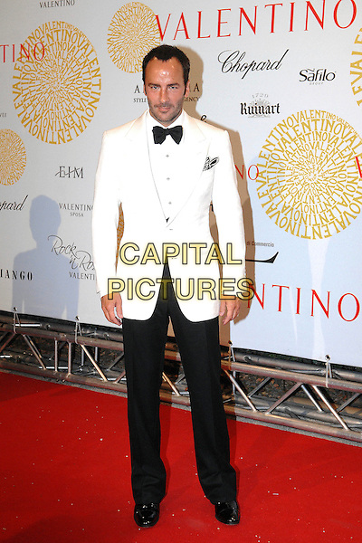 TOM FORD.Arrivals at the Valentino 45th Anniversary Celebraion Gala held at the Villa Borghese in the Parco dei Daini, Rome, Italy, 7th July 2007..full length cream suit tuxedo jacket black trousers bow tie shirt .CAP/OME.©Cesare Scaramuzzino/Omega/Capital Pictures.