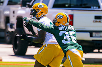 Green Bay Packers tight end Martellus Bennett (80) and safety Jermaine Whitehead (35) during an OTA on June 1, 2017 at Clark Hinkle Field in Green Bay, Wisconsin. (Brad Krause/Krause Sports Photography)