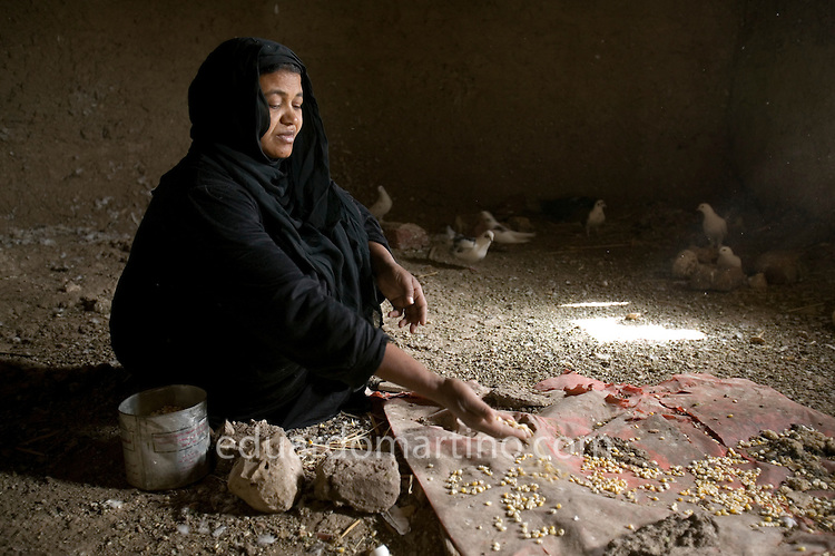 Fatma Mohamed feeding her pigeons, in her house at Qurna old village, Luxor, Egypt..Photo: Eduardo Martino