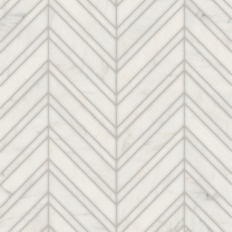Vero, a hand-cut stone mosaic, shown in polished Calacatta Radiance, is part of the Semplice® collection for New Ravenna.