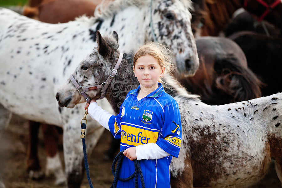 9/10/2010.  Gillian Kemp aged 9 from Tipperary is pictured with her pony Destiny at the Ballinasloe Horse Fair, Ballinasloe, County Galway, Ireland. Picture James Horan