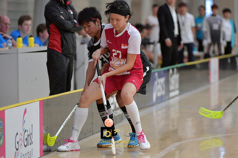 Singapore's Wynne Tang in action during the World Floorball Championships 2017 Qualification for Asia Oceania Region - Singapore v Thailand at ASB Sports Centre , Wellington, New Zealand on Sunday 5 February 2017.<br /> Photo by Masanori Udagawa<br /> www.photowellington.photoshelter.com.