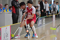 Singapore&rsquo;s Wynne Tang in action during the World Floorball Championships 2017 Qualification for Asia Oceania Region - Singapore v Thailand at ASB Sports Centre , Wellington, New Zealand on Sunday 5 February 2017.<br /> Photo by Masanori Udagawa<br /> www.photowellington.photoshelter.com.