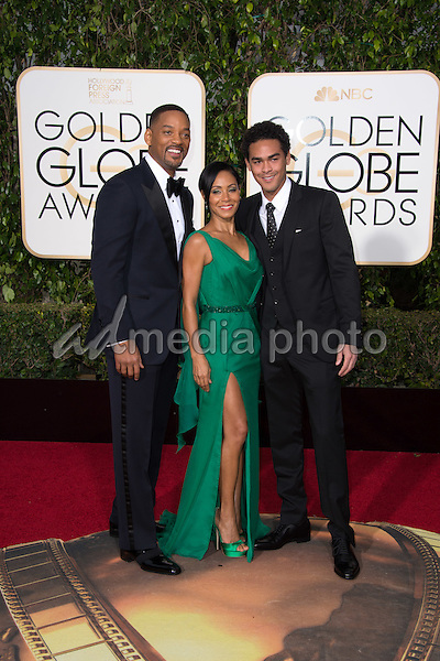 "Will  Smith, Golden Globe Nominee in the category of BEST PERFORMANCE BY AN ACTOR IN A MOTION PICTURE - DRAMA for ""Concussion"", along with Trey Smith and Jada Pinkett Smith arrive at the 73rd Annual Golden Globe Awards at the Beverly Hilton in Beverly Hills, CA on Sunday, January 10, 2016. Photo Credit: HFPA/AdMedia"