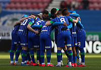 8th February 2020; DW Stadium, Wigan, Greater Manchester, Lancashire, England; English Championship Football, Wigan Athletic versus Preston North End; the Wigan players form a huddle before kick off