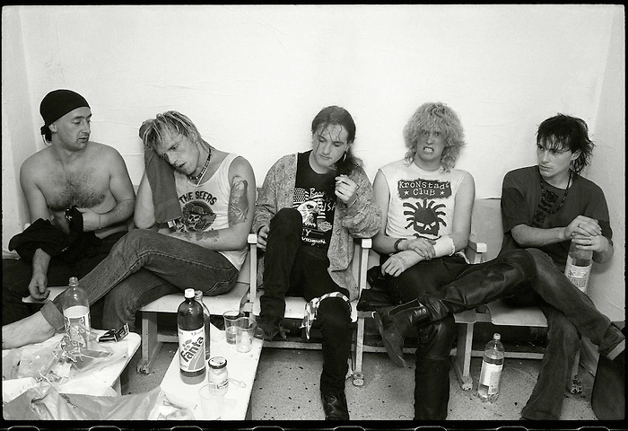 The Seers backstage after a gig on their first European tour. May 1990.