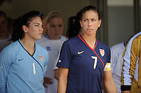 Shannon Boxx and Hope Solo await the game start from the tunnel. The USWNT defeated Iceland (2-0) at Vila Real Sto. Antonio in their opener of the 2010 Algarve Cup on February 24, 2010.