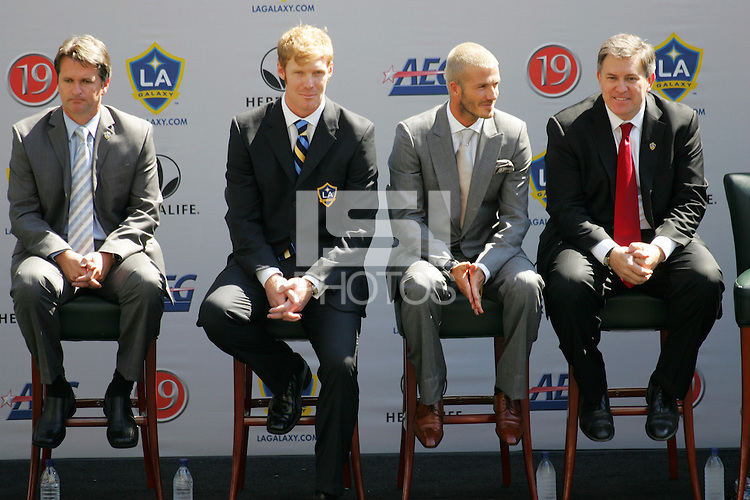 LA Galaxy (Left to Right) Head Coach Frank Yallop, President Alexi Lalas, David Beckham,  and Owner Timothy Leiweke during the David Beckham, LA Galaxy press conference at the Home Depot Center in Carson, California, Friday, July 13, 2007.