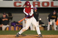 Catcher Kyle Enders (18) of the South Carolina Gamecocks connects for the game winning hit in the bottom of the 11th inning versus the East Carolina Pirates at Sarge Frye Field in Columbia, SC, Sunday, February 24, 2008.