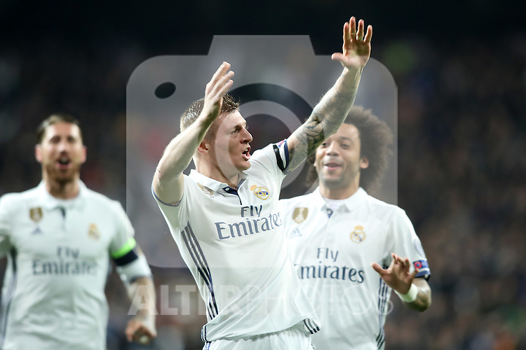 Real Madrid's Sergio Ramos, Toni Kroos (c) and Marcelo Vieira celebrate goal during Champions League 2016/2017 Round of 16 1st leg match. February 15,2017. (ALTERPHOTOS/Acero)