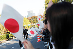 Well-wishers watch the royal parade to mark the enthronement of Japanese Emperor Naruhito in Tokyo, Japan on Sunday, November 10, 2019. (Photo by AFLO)