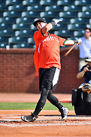 Tate Blackman of the Kannapolis Intimidators swings at a pitch during the home run derby as part of the All Star Game festivities at First National Bank Field on June 19, 2018 in Greensboro, North Carolina.(Tony Farlow/Four Seam Images)