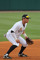 Charleston Riverdogs third baseman Dante Bichette Jr. #19 playing his position during a game against the Delmarva Shorebirds at Joseph P. Riley Jr. Park on May 6, 2012 in Charleston, South Carolina. Charleston defeated Delmarva by the score of 8-2. (Robert Gurganus/Four Seam Images)