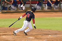 AZL Indians 1 first baseman Miguel Jerez (26) follows through on his swing during an Arizona League playoff game against the AZL Rangers at Goodyear Ballpark on August 28, 2018 in Goodyear, Arizona. The AZL Rangers defeated the AZL Indians 1 7-4. (Zachary Lucy/Four Seam Images)