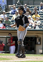 April 29, 2004:  Catcher Dusty Wathan of the Buffalo Bisons, International League (AAA) affiliate of the Cleveland Indians, during a game at Frontier Field in Rochester, NY.  Photo by:  Mike Janes/Four Seam Images