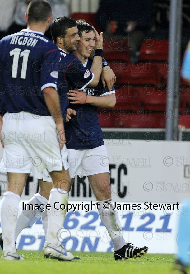 05/05/2008   Copyright Pic: James Stewart.File Name : sct_jspa11_falkirk_v_hearts.CARL FINNIGAN IS CONGRATULATED BY PEDRO MOUTINHO AFTER HE SCORES FALKIRK'S SECOND.James Stewart Photo Agency 19 Carronlea Drive, Falkirk. FK2 8DN      Vat Reg No. 607 6932 25.Studio      : +44 (0)1324 611191 .Mobile      : +44 (0)7721 416997.E-mail  :  jim@jspa.co.uk.If you require further information then contact Jim Stewart on any of the numbers above........