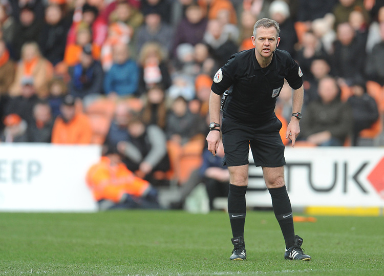 Referee Christopher Sarginson<br /> <br /> Photographer Kevin Barnes/CameraSport<br /> <br /> The EFL Sky Bet League One - Blackpool v Southend United - Saturday 9th March 2019 - Bloomfield Road - Blackpool<br /> <br /> World Copyright © 2019 CameraSport. All rights reserved. 43 Linden Ave. Countesthorpe. Leicester. England. LE8 5PG - Tel: +44 (0) 116 277 4147 - admin@camerasport.com - www.camerasport.com