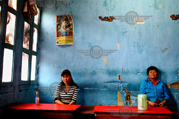Inhabitants of Thimpu  in their local restaurant.