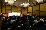 Gilbert Felli IOC Executive Director for the Olympic Games,<br /> John Coates IOC Vice President, <br />  Yoshiro Mori, <br />  Toshiro Muto, <br />  IOCTsunekazu Takeda, <br /> APRIL 4, 2014 : Joint press conference in The Tokyo Organizing Committee of the Olympic and Paralympic Games (TOCOG) members and IOC committee members was held in the Shinagawa Prince Hotel in Tokyo, Japan. (Photo by AFLO SPORT)