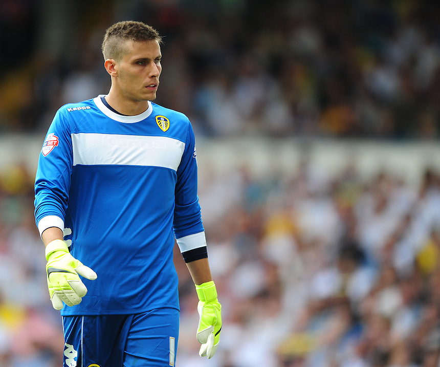 Leeds United's Marco Silvestri<br /> <br /> Photographer Chris Vaughan/CameraSport<br /> <br /> Football - The Football League Sky Bet Championship - Leeds United  v Burnley - Saturday 8th August 2015 - Elland Road - Beeston - Leeds<br /> <br /> &copy; CameraSport - 43 Linden Ave. Countesthorpe. Leicester. England. LE8 5PG - Tel: +44 (0) 116 277 4147 - admin@camerasport.com - www.camerasport.com