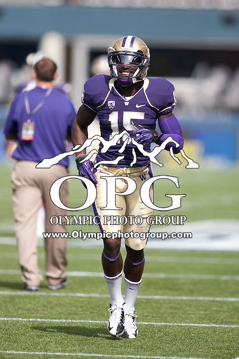 Sept 15, 2012:  Washington's Antavius Sims against Portland State.  Washington defeated Portland State 52-13 at CenturyLink Field in Seattle, Washington...