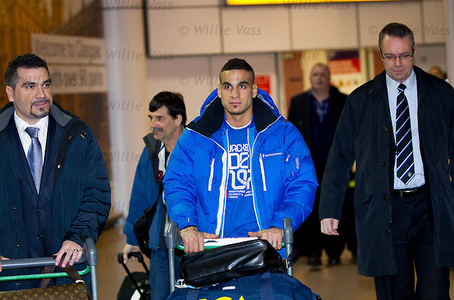 Mervan Celik arrives in Glasgow to sign for Rangers