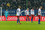20.01.2018, Volksparkstadion, Hamburg, GER, 1.FBL, Hamburger SV vs 1. FC Koeln<br /> <br /> im Bild<br /> Aaron Hunt (Hamburger SV #14), Kyriakos Papadopoulos (Hamburger SV #9), Gideon Jung (Hamburger SV #28), Andr&eacute; / Andre Hahn (Hamburger SV #11) bedient / entt&auml;uscht nach 0:2 R&uuml;ckstand, <br /> <br /> Foto &copy; nordphoto / Ewert