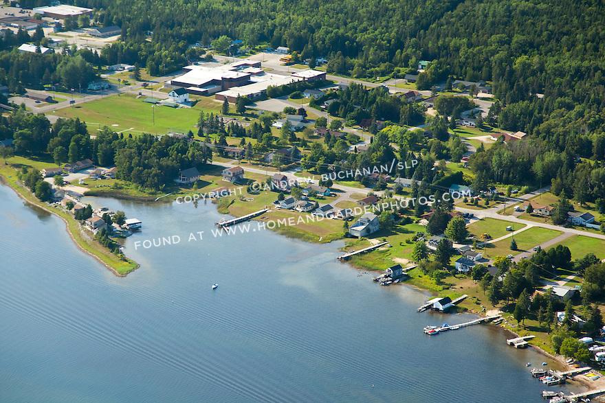 Cedarville Bay shoreline east of town docks; Les Cheneaux area of Lake Huron near Cedarville, MI
