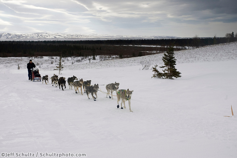 Aaron Burmeister on Trail Outside of Unalakleet 2005 Iditarod due to Overflow