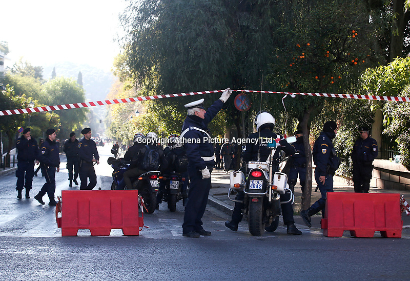 Pictured: Heavy police presence in the centre of Athens <br /> Re: Turkey's president Recep Tayyip Erdogan has begun a landmark visit to Greece. Thursday 07 December 2017
