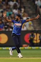 1st November 2019; Melbourne Cricket Ground, Melbourne, Victoria, Australia; International T20 Cricket, Australia versus Sri Lanka; Lahiru Kumara of Sri Lanka appeals for a wicket - Editorial Use