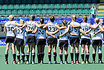 The Hague, Netherlands, June 13: Players of Germany line up prior to the field hockey placement match (Women - Place 7th/8th) between Korea and Germany on June 13, 2014 during the World Cup 2014 at Kyocera Stadium in The Hague, Netherlands. Final score 4-2 (2-0)  (Photo by Dirk Markgraf / www.265-images.com) *** Local caption ***