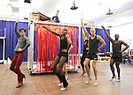 The Company performing in the Sneek Peek Press Preview of the New Broadway Musical 'Kinky Boots' at the New 42nd Street Studios in New York City on September 14, 2012.