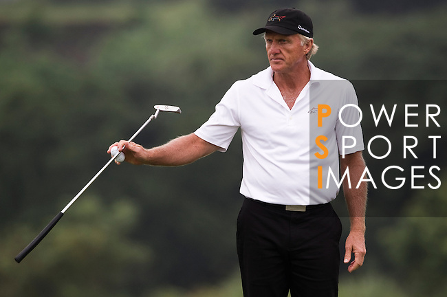 Greg Norman during the Mission Hills Start Trophy at the Mission Hills Golf Resort on October 31, 2010 in Haikou, China. The Mission Hills Star Trophy is Asia's leading leisure liflestyle event and features Hollywood celebrities and international golf stars. Photo by Victor Fraile