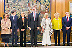 (L to r)Ana Botella,  Javier Ordonez, Ana Iribar, King Felipe VI of Spain, Consuelo ORdonez, Esperanza Aguirre and Jaime Mayor Oreja during the auddience of King Felipe VI with representation of Gregorio Ordonez Fenollar Foundation at Zarzuela Palace in Madrid. 20 January 2020. (Alterphotos/Francis González)