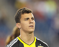 Columbus Crew midfielder Bernardo Anor (7). In a Major League Soccer (MLS) match, the New England Revolution (blue) defeated Columbus Crew (white), 3-2, at Gillette Stadium on October 19, 2013.