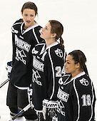Kendra Goodrich (PC - 22), Lauren Klein (PC - 24), Arianna Reid,PC, Providence College, Friars, - The Boston College Eagles defeated the visiting Providence College Friars 7-1 on Friday, February 19, 2016, at Kelley Rink in Conte Forum in Boston, Massachusetts.