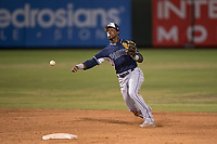 AZL Padres 2 shortstop Jordy Barley (55) makes a throw to first base during an Arizona League game against the AZL Angels at Tempe Diablo Stadium on July 18, 2018 in Tempe, Arizona. The AZL Padres 2 defeated the AZL Angels 8-1. (Zachary Lucy/Four Seam Images)