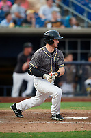 Quad Cities River Bandits designated hitter Chandler Taylor (23) hits a single during a game against the West Michigan Whitecaps on July 22, 2018 at Modern Woodmen Park in Davenport, Iowa.  West Michigan defeated Quad Cities 6-4.  (Mike Janes/Four Seam Images)