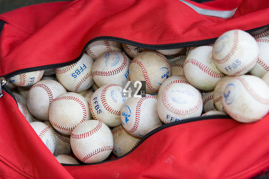 23 August 2007: Baseballs in the dugout after the France 8-4 victory over Czech Republic in the Good Luck Beijing International baseball tournament (olympic test event) at the Wukesong Baseball Field in Beijing, China.