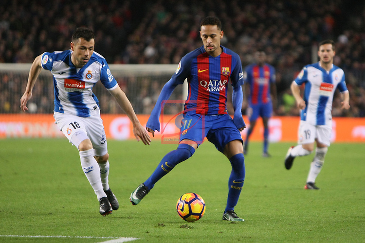 League Santander 2016/2017. Game: 16.<br /> FC Barcelona vs RCD Espanyol: 4-1.<br /> Javi Fuego vs Neymar Jr.