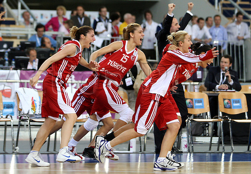 01.07.2011 Women's European Basketball Championships from the Atlas Arena in Lodz, Poland. Picture shows Turkey celebrating their victory over France.