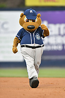 Asheville Tourists mascot Ted E Tourist runs the bases between innings of the game against the West Virginia Power at McCormick Field on April 18, 2019 in Asheville, North Carolina. The Power defeated the Tourists 12-7. (Tony Farlow/Four Seam Images)