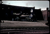 D&amp;RGW #473 K-28 at Alamosa roundhouse, turntable to right.<br /> D&amp;RGW  Alamosa, CO  5/30/1966