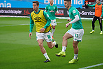 17.03.2019, BayArena, Leverkusen, GER, 1. FBL, Bayer 04 Leverkusen vs. SV Werder Bremen,<br />  <br /> DFL regulations prohibit any use of photographs as image sequences and/or quasi-video<br /> <br /> im Bild / picture shows: <br /> Niklas Moisander (Werder Bremen #18), Milot Rashica (Werder Bremen #11), beim Aufwaermen, Einzelaktion,  <br /> <br /> Foto © nordphoto / Meuter
