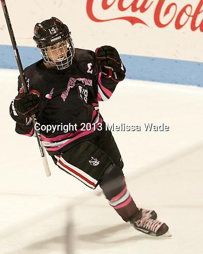 Casey Pickett (NU - 14) - The Northeastern University Huskies defeated the visiting Providence College Friars 8-7 on Sunday, January 20, 2013, at Matthews Arena in Boston, Massachusetts.