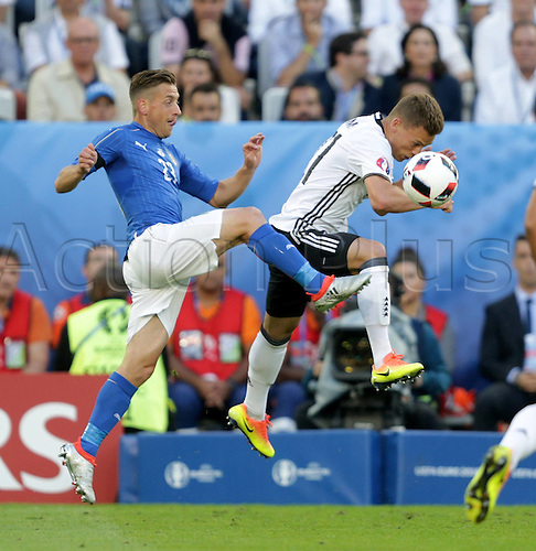 02.07.2016. Bordeaux, France. 2016 European football championships. Quarterfinals match. Germany versus Italy.  Emanuele Giaccherini (Ita), Joshua Kimmich (Ger)