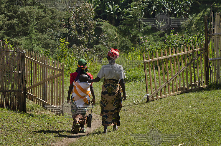 Women leaving a rural medical centre.