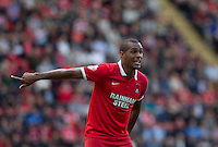Goal scorer Jay Simpson of Leyton Orient gives instructions during the Sky Bet League 2 match between Leyton Orient and Wycombe Wanderers at the Matchroom Stadium, London, England on 19 September 2015. Photo by Andy Rowland.