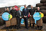 Diageo receives its accreditation as a Living Wage employer for it UK operations. From left: apprentices Andrew Hunter, Calum Hendrie, Cabinet Secretary for Economy, Jobs &amp; Fair Work, Keith Brown MSP, David Cutter, President of Global Supply &amp; Procurement, Diageo and apprentices Kevin Jolly and James Goldie. The barrel park, Alloa Cooperage, Diageo. 01 Sep 2017. <br /> Copyright photograph by Tina Norris. Not to be archived or reproduced without prior permission and payment. Contact Tina on 07775 593 830 info@tinanorris.co.uk www.tinanorris.co.uk http://tinanorris.photoshelter.com